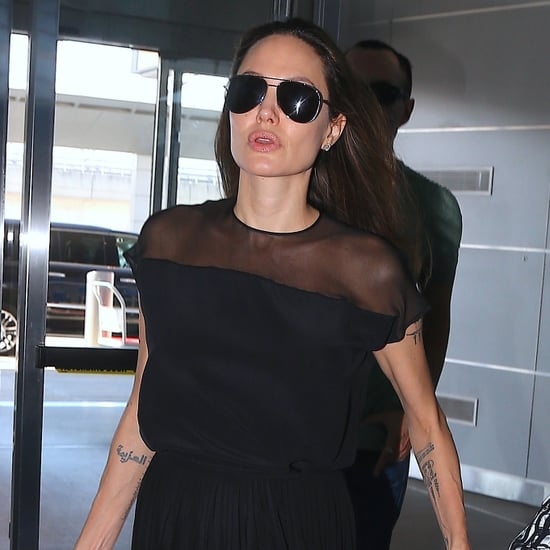 Angelina Jolie's Black Airport Dress June 2016
