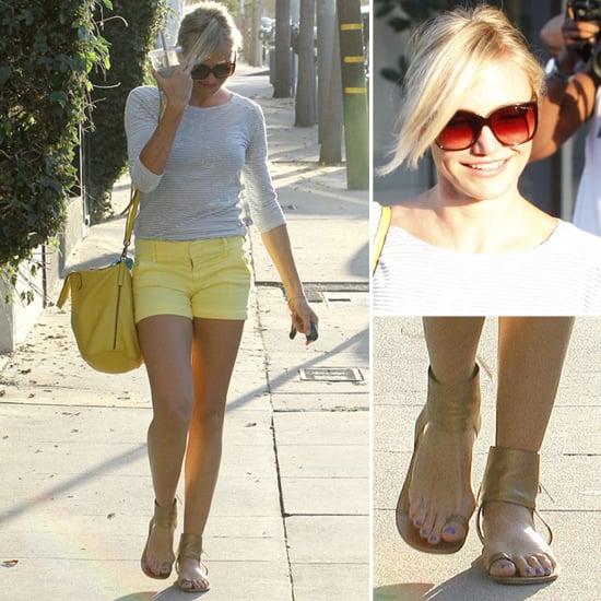Cameron Diaz Wearing Yellow Shorts