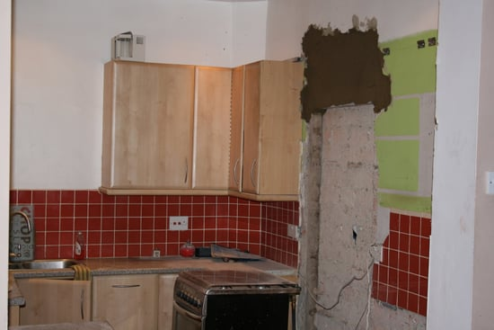 THis is the kitchen before only just started destruction.