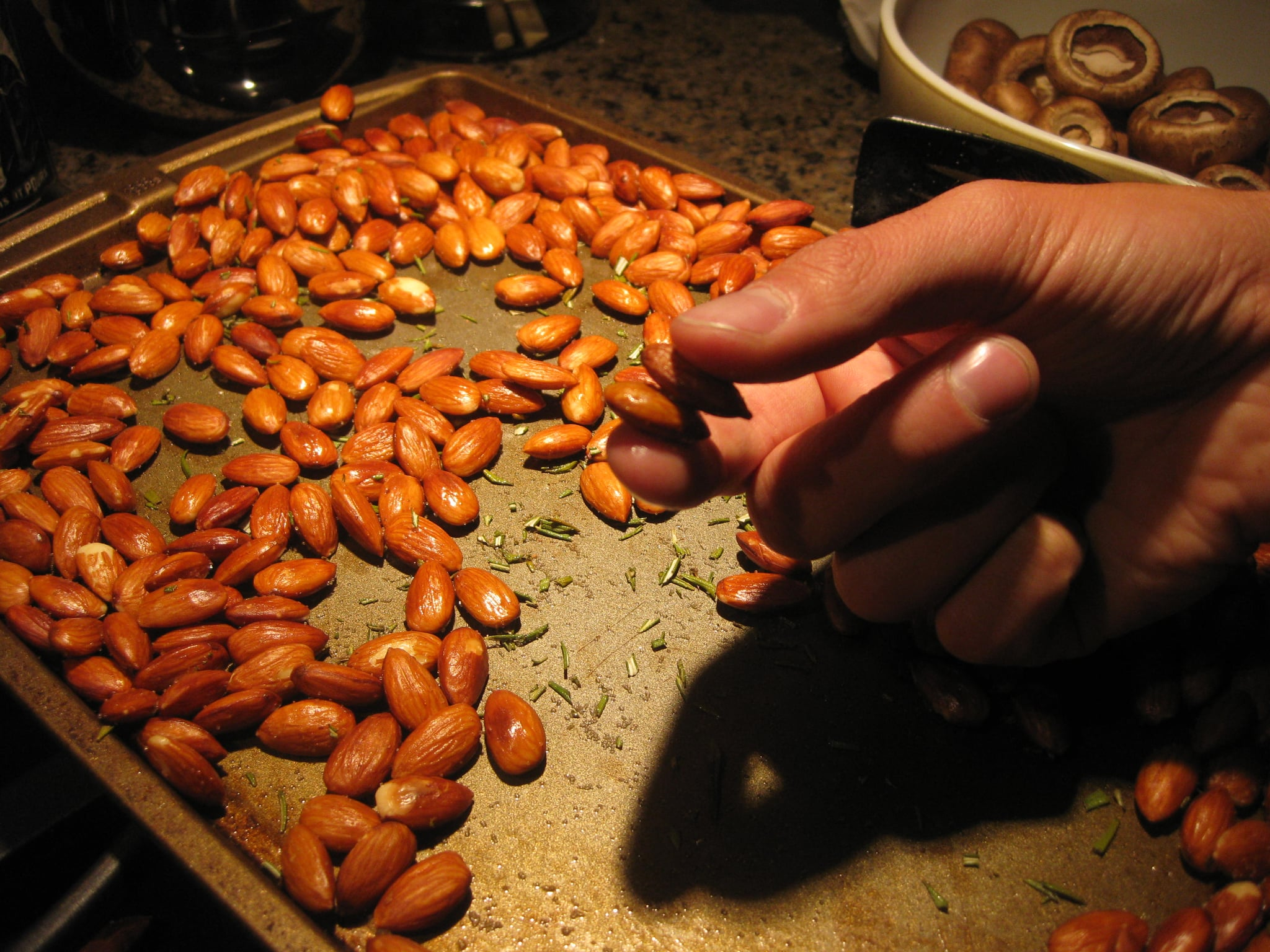 Roasted almonds were jazzed up with chopped rosemary.
