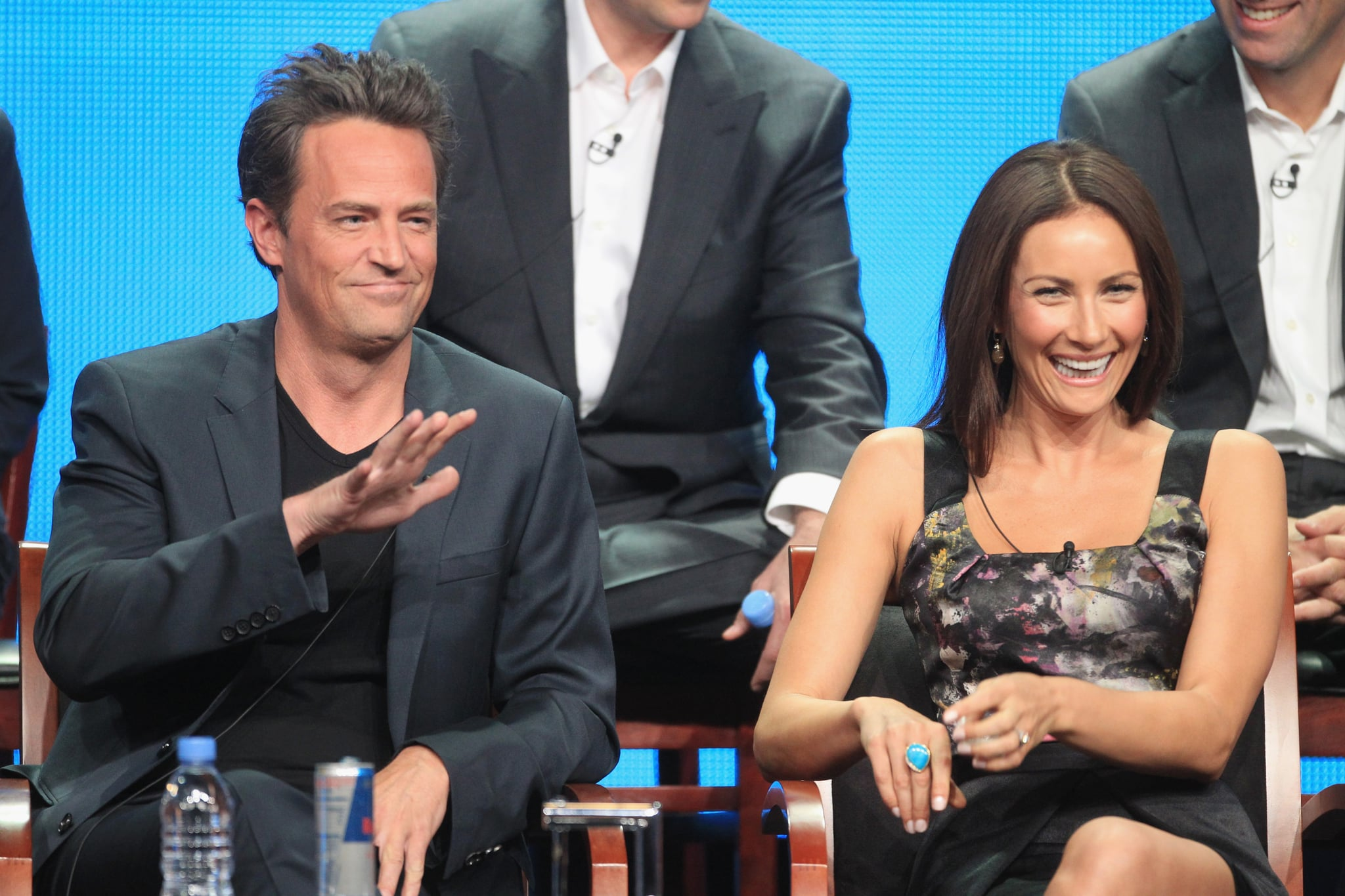 """Matthew Perry appeared alongside Laura Benanti, who plays the counselor of """"Transitions,"""" the grief group Perry's character attends in Go On."""