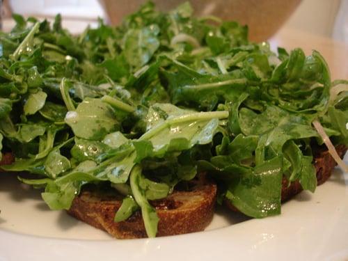 Blue Cheese and Arugula Crostini