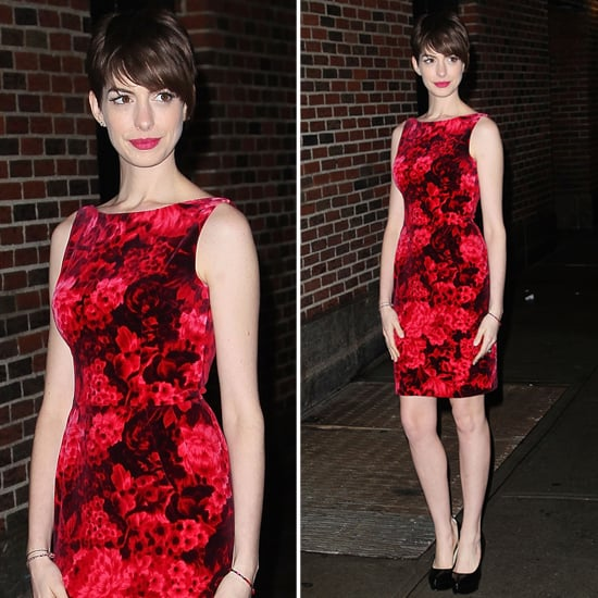 Anne Hathaway Gown: Anne Hathaway Wearing Red Floral Dress