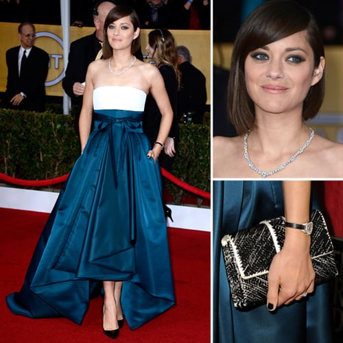 Australia S Rob Simmons Catches A Monitor: Marion Cotillard In Christian Dior Couture 2013 SAG Awards