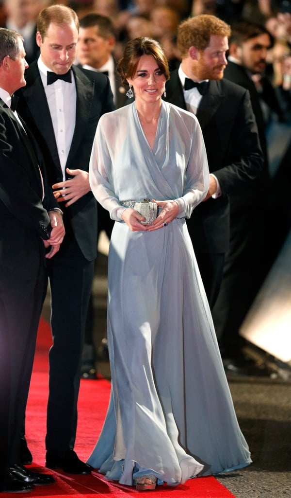 Kate Middleton wearing a Jenny Packham gown at the Spectre premiere in 2015.