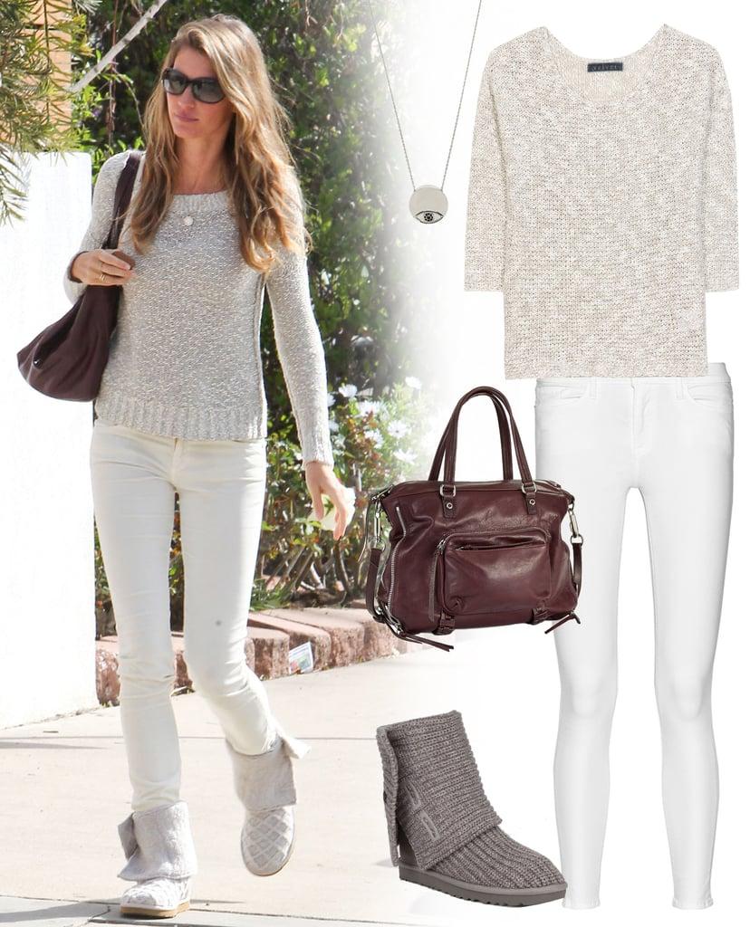 Gisele Bundchen White Jeans And Sweater Style | POPSUGAR Fashion