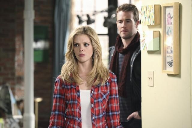 Dreama Walker and James Van Der Beek in Don&#039;t Trust the B---- In Apartment 23.</p> <p>Photos copyright 2012 ABC, Inc.